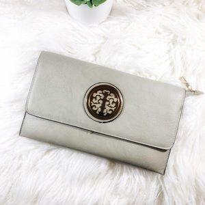 Handbags - Grey Leather Clutch
